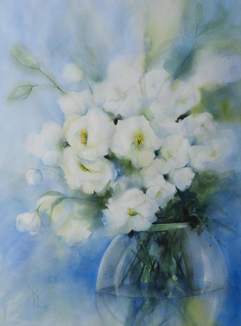 Heidi Andersen (DK) - Hvide Blomster - 76x56cm
