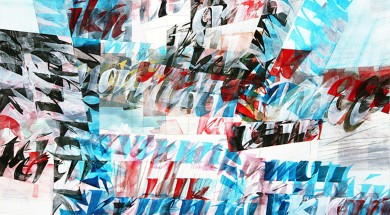 Jan Roald (NO) - Letters in abstraction III - 39x69cm - akvarell + akryl + blyant